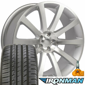 20x9 Rims Tires Tpms Fit Dodge 300 Srt Chrysler Silver Wheels Ironman Tires 2253