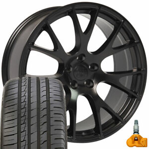 20x9 Rims Tires Tpms Fit Dodge Hellcat Style Black Wheels Ironman Tires 2528