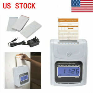 Employee Attendance Punch Time Clock Payroll Recorder Lcd W 100 Cards Machine