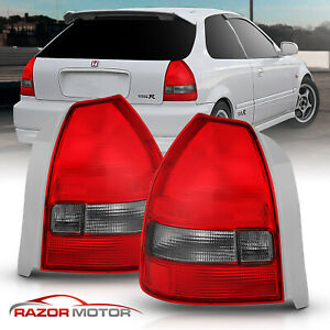 For 1996 1997 1998 1999 2000 Honda Civic Hatchback Red Smoke Brake Tail Lights