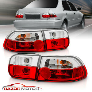 For 1992 1993 1994 1995 Honda Civic 2 4dr Coupe sedan Red Clear Tail Lights Pair