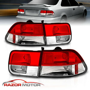 For 1996 1997 1998 1999 2000 Honda Civic 2dr Coupe Red Clear Brake Tail Lights