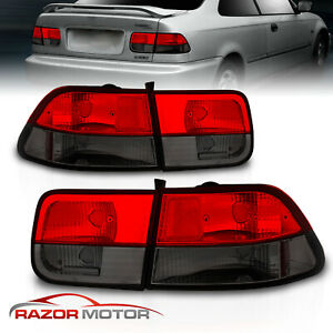 1996 2000 For Honda Civic 2dr Coupe Red Smoke Brake Tail Lights Pair