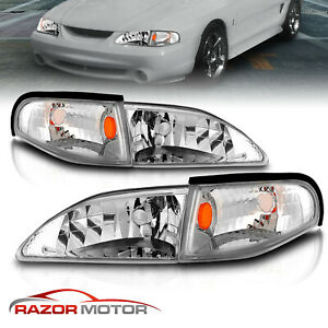 1994 1995 1996 1997 1998 For Ford Mustang Chrome Headlights Corner Sigl Lamps