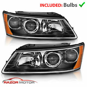 For 2006 2007 2008 Hyundai Sonata Factory Style Black Replacement Headlights
