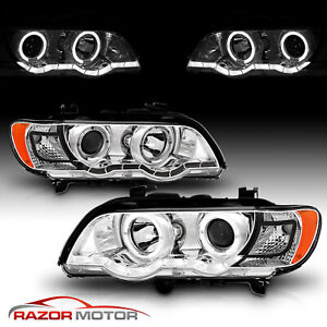 Dual Led Halo 2000 2001 2002 2003 Bmw E53 X5 Chrome Projector Headlights Pair