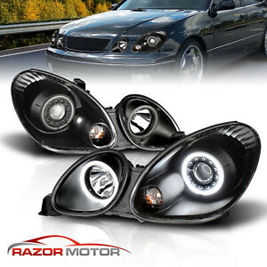 Led Halo For 1998 2005 Lexus Gs300 Gs400 Gs430 4dr Projector Black Headlights