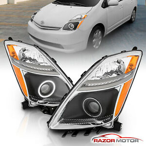 For 2006 2008 Toyota Prius Ccfl Angel Eye Halo Ring Projector Black Headlights