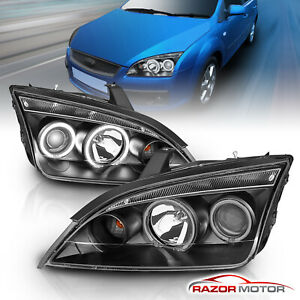 2 X Ccfl Halo 2005 2006 2007 Ford Focus Black Projector Headlights Pair