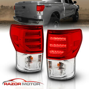 For 2007 2008 2009 2010 2011 2012 2013 Toyota Tundra Red Clear Led Tail Lights