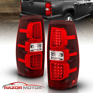 2007 2013 Chevrolet Avalanche Red Clear Led Brake Tail Lights Rear Lamps Pair