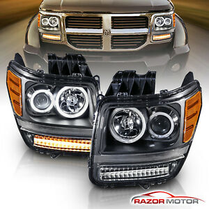 dual Ccfl Halo 2007 2012 Dodge Nitro Led Projector Black Headlights Pair