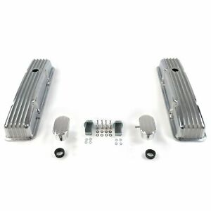 Vintage Short Finned Valve Covers W Breathers Pcv Small Block Chevy Vpa7ac0f