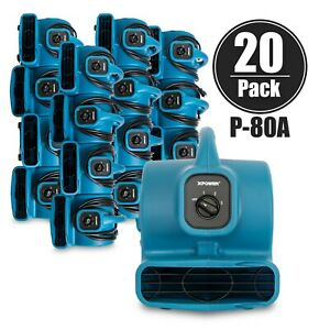 Xpower P 80a 1 8 Hp 1 2 Amp Mini Air Mover Carpet Dryer Blower Floor Fan 20 Pack