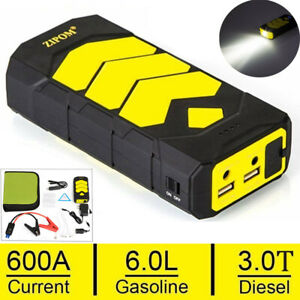 600a Car Emergency Charger Jump Starter 4 Usb Power Bank Led Sos Vehicle Booster