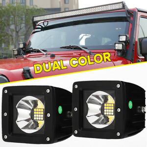Pair 3 384w 2000k 6000k Color Changing Cree Led Light Pods Cube Flood Fog Amber