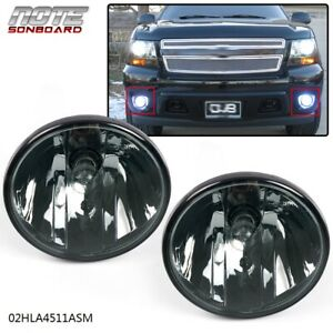 For 07 13 Chevy Avalanche Suburban Tahoe Gmc Smoke Fog Lights Driving Lamps Pair