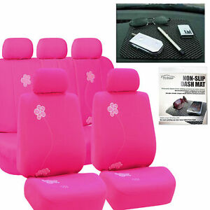 Car Seat Covers Sporty Complete In Pink Free Gift Dash Grip Pad