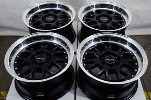 15x8 Wheels Fit Honda Accord Civic Neon Kia Soul Lancer Black Rims 5x100 5x114 3