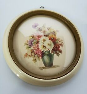 2 Pieces Vintage Round Frame Floral Wall Hangings With Convex Glass