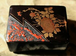 Exquisite Japanese Small Hand Lacquered And Gilded Box C 1965