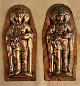 Pr 19th C Copper Chocolate Molds In Shape Of Native American Chief W Jeacock