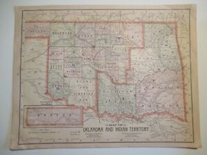 Map Of Oklahoma And Indian Territory And Map Of Arizona New Mexico 1897