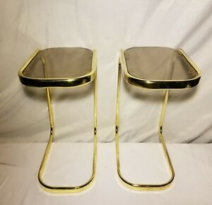 Vtg Brass Gold Tone Metal Glass Side End Table Mid Century
