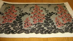 Sample Piece Of Black Vintage Antique French Lace Embroidered Flowers