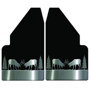 Universal Mud Flaps 14 Wide Rear With Elk Fighting Steel Anchor Weights For Ful