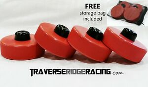 Racing Red Tesla Jack Pad For Model S 3 X Y Lift Point Adapter 4 Pack W Bag