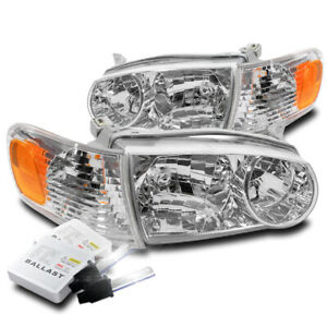 For 2001 2002 Toyota Corolla Chrome Replacement Headlight Lamp 6000k Hid Kit New