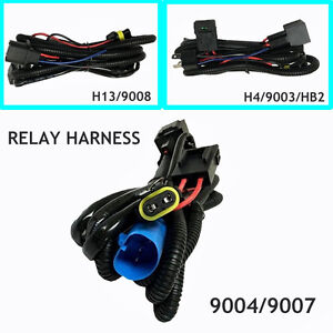 Relay Wiring Harness For High Low Beam Alien Hid Kit For 9004 9007 H4 H13 9008