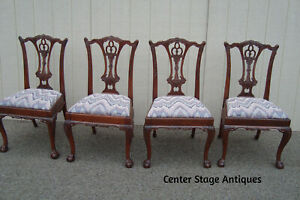59706 Set 4 Mahogany Chippendale Dining Chairs With Claw Feet