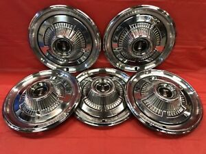 Vintage Set Of 5 1966 Plymouth 14 Hubcaps Fury Belvedere Satellite Mopar