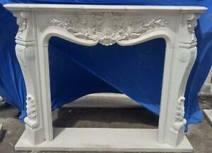 Beautiful Hand Carved Marble French Style Estate Fireplace Mantel Ttm6