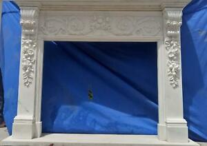 Beautiful Hand Carved Marble French Style Estate Fireplace Mantel Ttm14