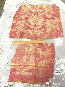 2 Pieces Of Antique 1600s Italian Red Silk Linen Frame Fabrics Collectors