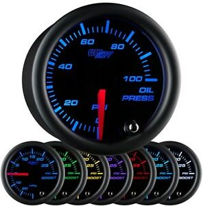 52mm Glowshift Black 7 Color Oil Pressure Gauge Gs c704 Glow Shift Led