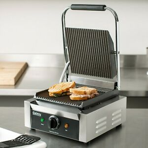 New Galaxy P68 Grooved Single Commercial Panini Sandwich Press Grill Restaurant