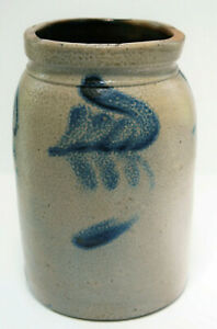 Antique Freehand Decorated Stoneware Crock Probably Made In Pa