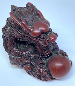 Red Resin Chinese Dragon With Pearl Of Wisdom
