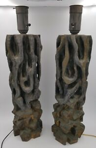 Pair Of Rare James Mont Tree Trunk Table Lamps Poly Chromed