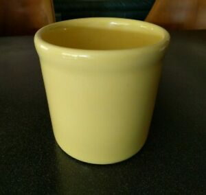 Heavy Yellow Stoneware Utensil Holder Mid Century Danish Modern Vintage Pottery