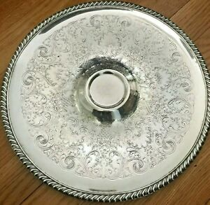 Vintage Etched Silverplate 12 Wm Rogers Entertaining Platter Tray Filigree 866