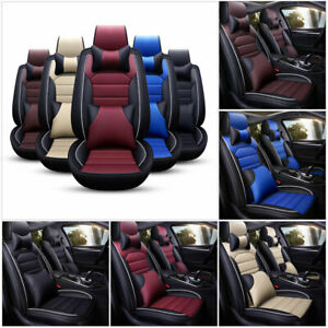 Us Luxury 11pcs Car Seat Cover Cushion Front Rear Full Set Pu Leather Interior