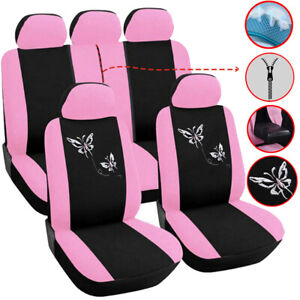 5 Seats Universal Pink Car Seat Covers Full Set Interior Accessories For Girls