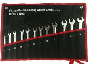 12pcs 8 19mm Metric Flexible Head Ratcheting Wrench Combination Spanner Tool Set