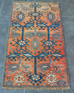 Hand Knotted Oushak Small Turkish Vintage Carpet Oriental Geometric Unique Rug