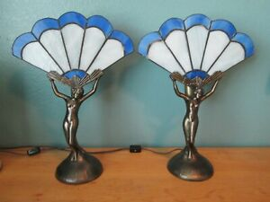 Vintage Matching Pair Deco Nude Nymph Cast Leaded Stain Glass Fan Shade Lamps